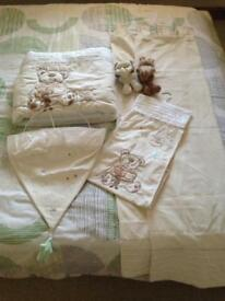 Nursery set including curtains, light shade, cot bumper & nappy dispenser