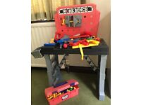 Child's workbench, toolbox and tools
