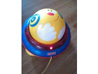 Retro Fisher Price Push And Pull Ball Toy With Music