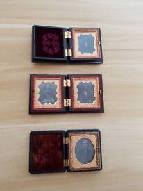 3 Antique Photo's in Union case / thermoplastic, daguerreotype, ambrotype, tintype