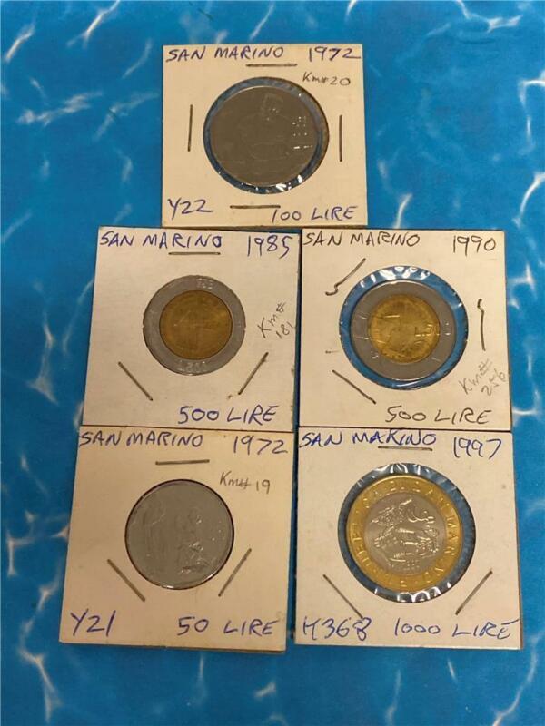 1972 San Marino 5 Different Coins Estate