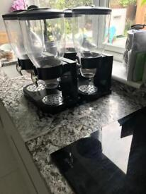 Modern black and chrome Kitchen double Cereal dispensers x2