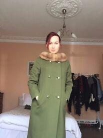 60s Olive Green Swing Coat