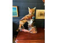 Fox & pheasant on bog wood