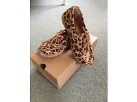 Ugg leopard print calf hair deck shoes