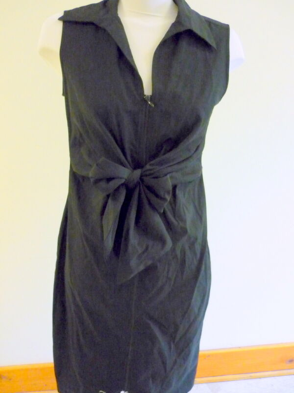 JOSEPH RIBKOFF BLACK STRETCH DRESS ZIPPERED FRONT TIE FRONT DETAIL SIZE 10
