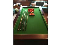 Pool Table with Cues and Balls, Slate Bedded