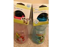 Pair of Mickey & Minnie Mouse flip straw cups - brand new