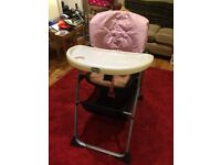 Pink Chicco high chair, very good condition.