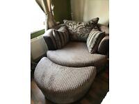 DFS Infinity Swivel Chair and Half Moon Footstool (mocha colour)
