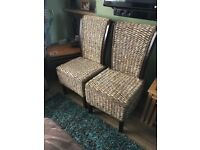 Pair Gorgeous Solid Wood & Rattan Woven Chairs. Excellent Condition. Can Deliver
