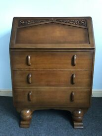 Oak Bureau - 1940's Pull Down Writing Desk With Drawers - Delivery Available