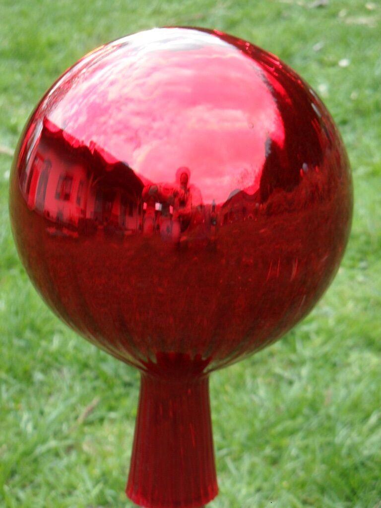 Glaskugel Rosenkugel xxxl Große Rosenkugeln Gartenkugeln  Balkon rot Garten