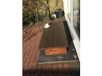 Heavy hardwood garden coffee table