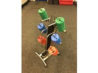 Set of 8 Bodymax Studio 20kg Barbell Sets With Rack Stand and Weight Plates. Almost new!