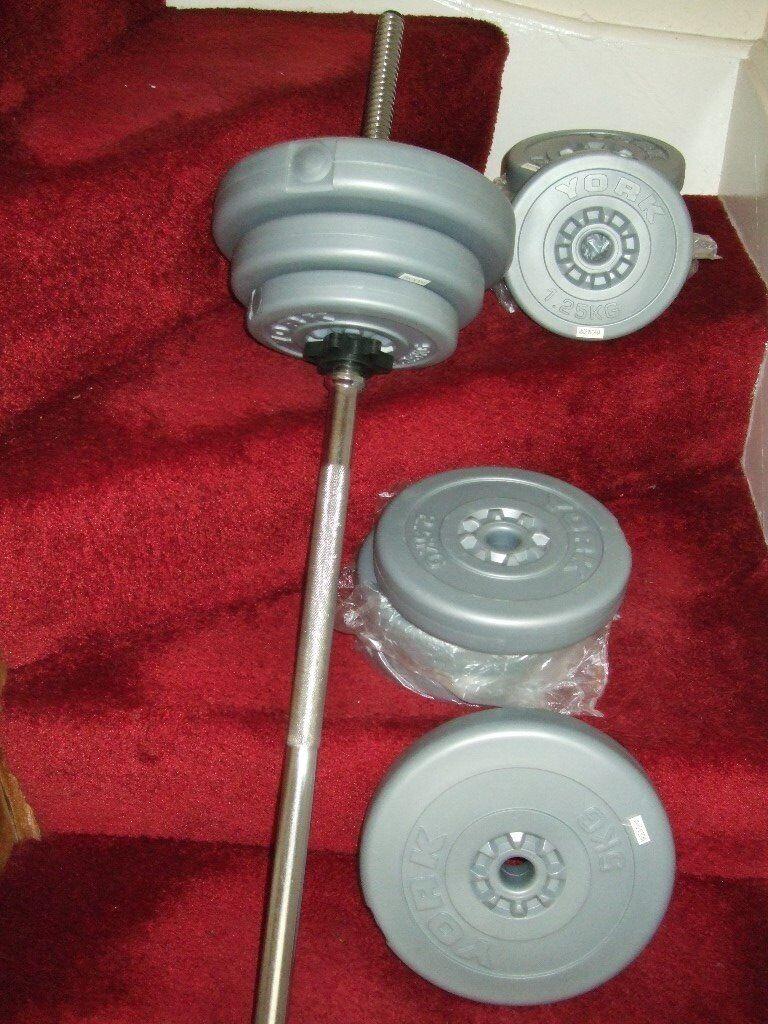 York Fitness silver vinyl spinlock barbell set