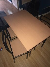 Table and chairs, good condition, comes assembled very minor, faint scratch to surface £25