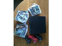 PS3 slim 120GB with 12 games & 3 controllers