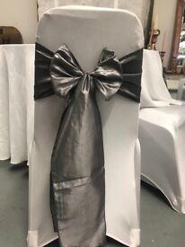 50x dark silver taffeta wedding chair sashes