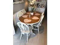 Shabby chic farmhouse dining table and 6 chairs