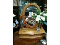 Pine dressing table mirror with storage