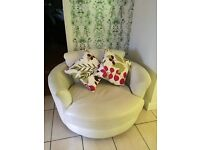 DFS Swivel Cream Leather Chair