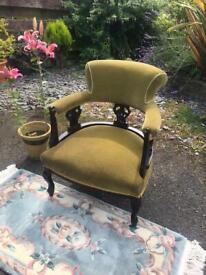 Antique Edwardian Ornate Walnut Frame Tub Style Chair on Casters