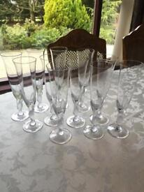 """""""The Snowdove Crystal Champagne Flutes"""" Designed By IGOR CARL FABERGE (x 12) Can Sell In Sets Of 4"""