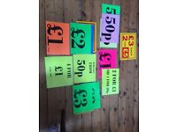 Waterproof price signs- pick up Peckham london