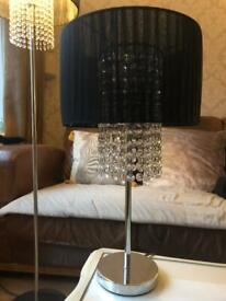 Table lamp black voile and glass