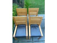 Marks & Spencer Sonoma Brown Leather Solid Oak Dining Chairs - Four