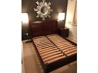 Kingsize Wooden Sleigh Bed & Bedside Drawers Set