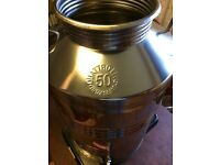 Olive oil drum in gleaming stainless steel 50l can be used for many liquids.
