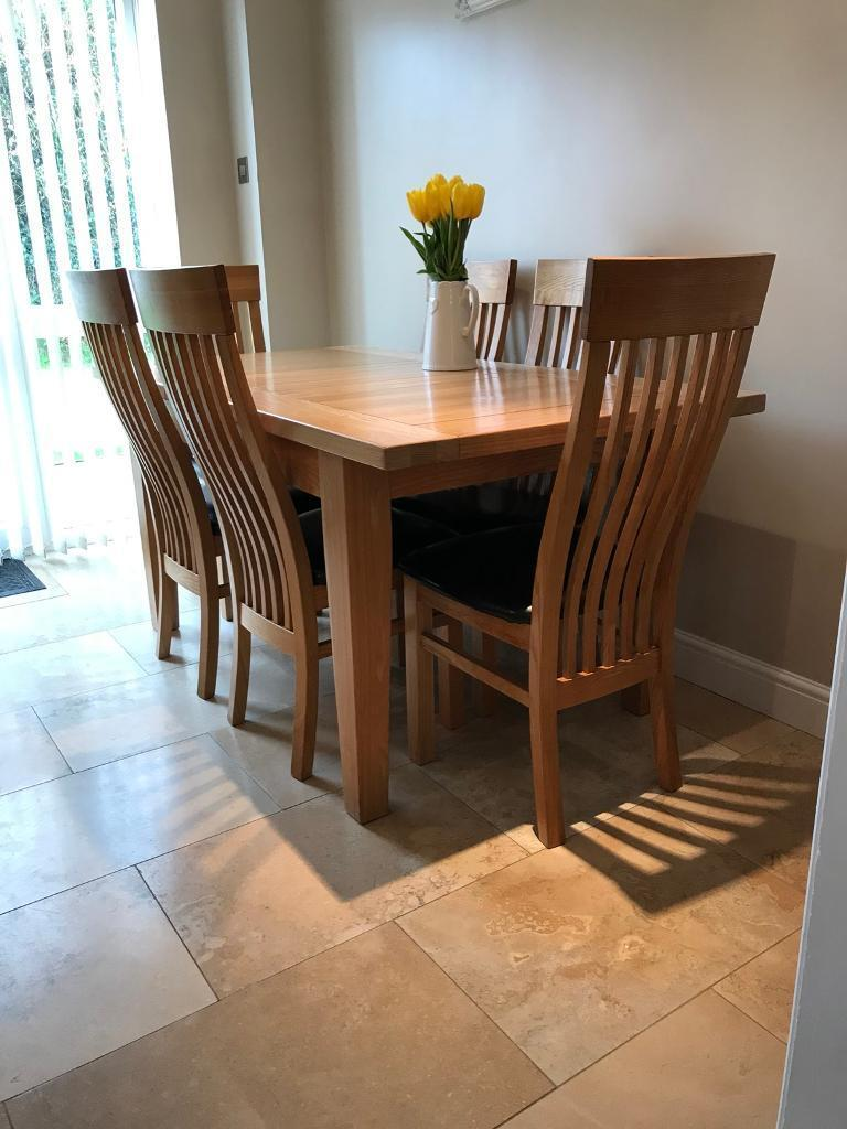 Quality oak extendable dining table and 6 chairs | in ...