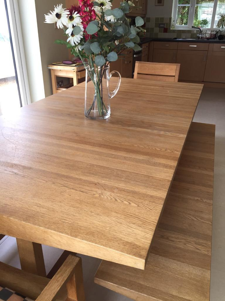 Solid Oak Dining Table Plus Two Benches