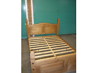 Wooden frame double bed without mattress