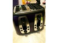 Russell Hobbs 4 slice toaster purple shiny great condition