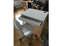 Ikea white desk with draw, and white plastic office chair