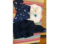 John Lewis unisex top and bottoms and navy George coat 9-12 months