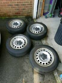 VW 5 x 112 steel wheels and tyres