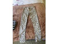 Faded Leopard Print Fashion Jeans