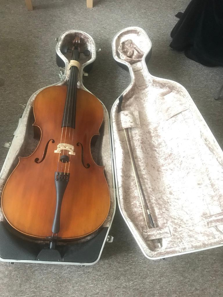 full size professional cello, bow, and case