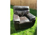 Brown Leather 3 seater sofa and matching electric chair.