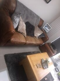 DFS 3 Seater Tan Leather sofa and Pouffe