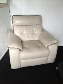 Cream leather two seater and chair