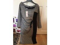 Brand new with tags sophisticated bow tie grey dress size 10-12