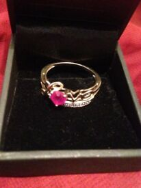 9ct gold diamond and synthetic ruby love ring