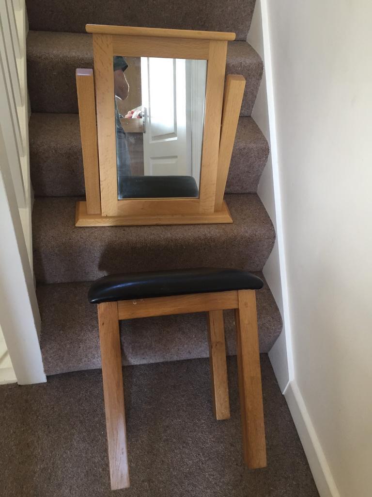 Oak mirror and stool