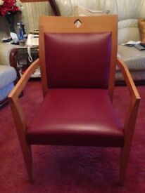 Super solid Oak Frame Red Chairs x 4 for sale!!