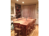 Antique Pine Table (180cm) with 6 matching Pine chairs excellent condition